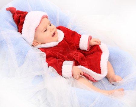 Cute baby dressed as Santa