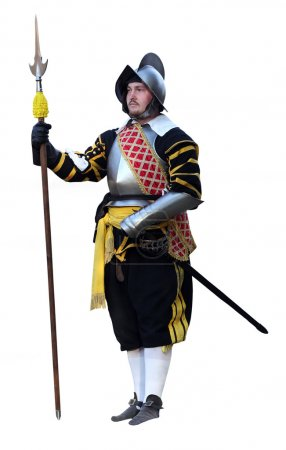 Spain knight with lance and sword. Solid white bac...