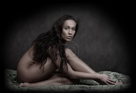 Classical artistic nudity style picture of woman sitting