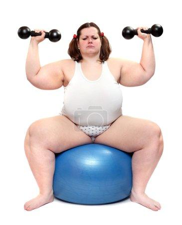 Happy bodybuilder on a white background.