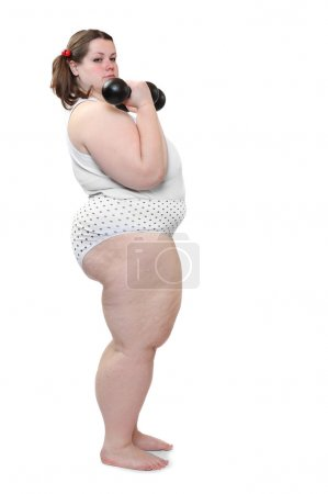 Happy overweight woman exercising on white background.