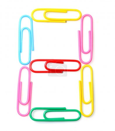 Colorful number eight from paperclips.