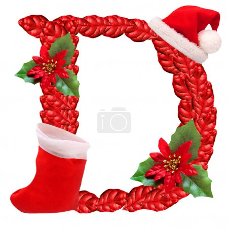 Christmas letter D with Santa Claus cap. One part of great christmas alphabet.
