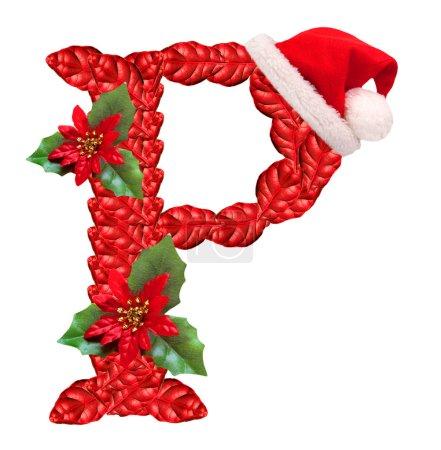 Christmas letter P with Santa Claus cap.