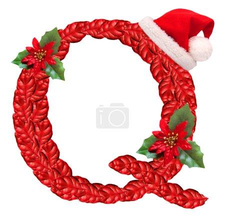 Christmas letter Q with Santa Claus cap.
