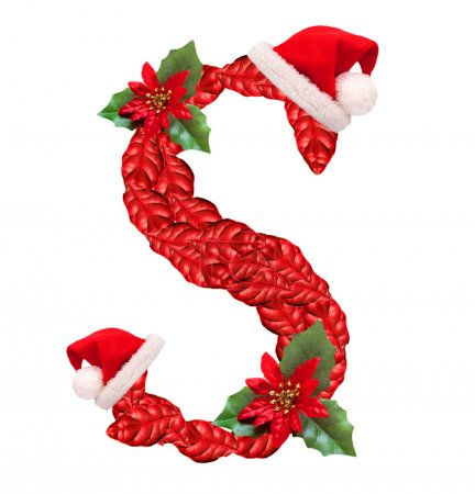 Christmas letter S with Santa Claus cap. One part of great christmas alphabet.