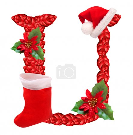 Christmas letter U with Santa Claus cap.