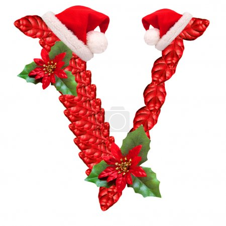 Christmas letter V with Santa Claus cap.