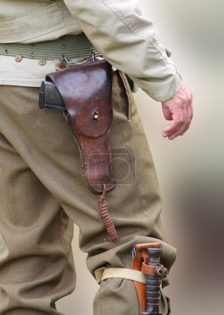American soldier with pistol