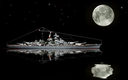 Photo for Full moon in night sky, ship on moonlit water - Royalty Free Image
