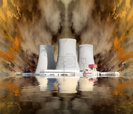 Explosion of a nuclear power plant. Environmental concept.