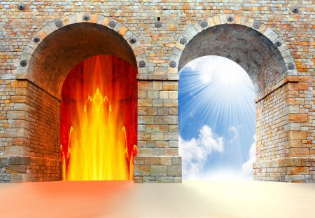 Photo for Two gates to heaven and hell. Choice concept. - Royalty Free Image