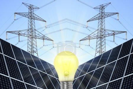 Lamp bulb with solar panels