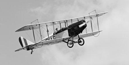 Vintage flying biplane