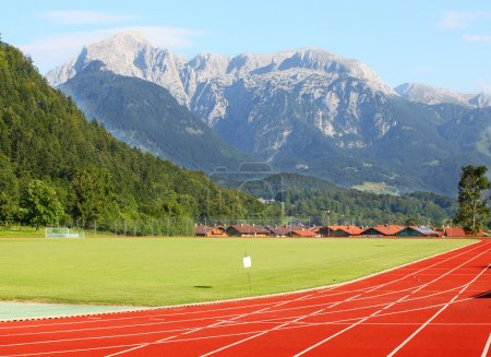 Running track under Berchtesgaden Alps.