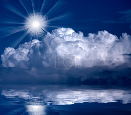 Dramatic sky over sea. Natural banner. Forces of nature concept.