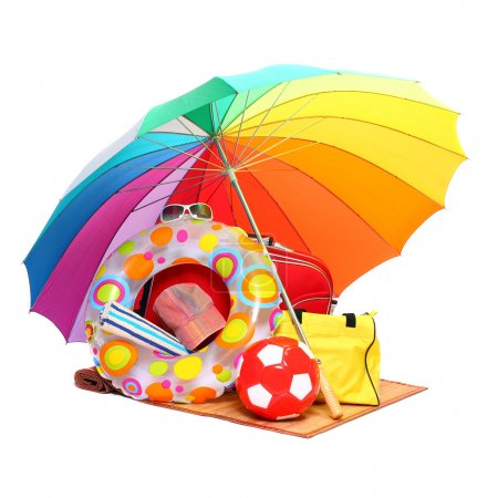 UV protection equipment, sun lotion and floating water toys