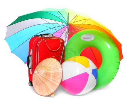 Beach umbrella and necessary articles