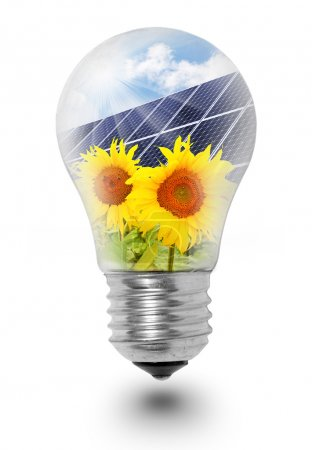 Lamp bulb with solar panels on sunflowers.
