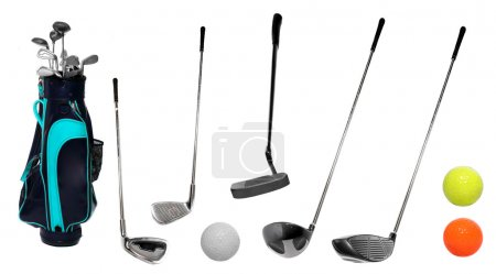 Golf clubs and bag with balls