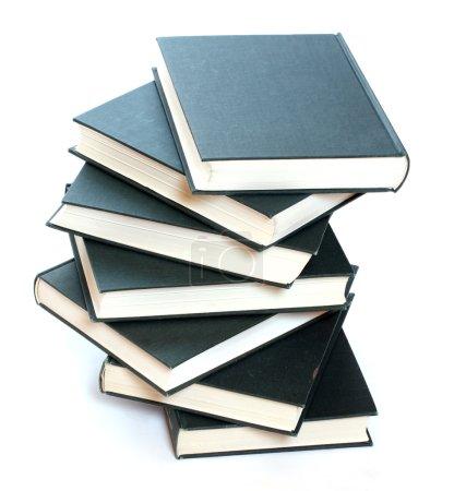 Books pile on white background....