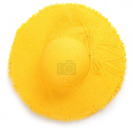 Photo for Yellow straw hat on white background, top view - Royalty Free Image