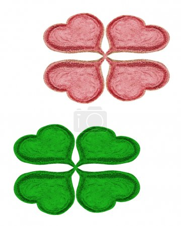 Photo for Green and red quarter-foil on white background - Royalty Free Image