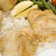 Baked sole fish stuffed with real crabmeat on a be...