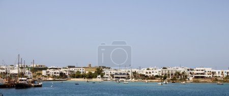 panoramic view of harbor antiparos island cyclades greece