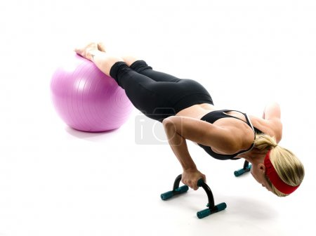 illustration pose middle age woman push up bars and fitness co