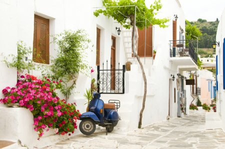 street scene in the greek cyclades islands