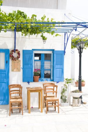 outdoor greek cafe setting greece islands