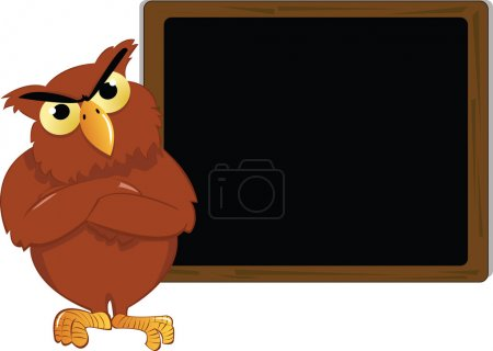 A vector cartoon representing an angry owl in fron...