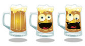 A vector cartoon representing 3 different kind of a glass of beer: a serious a smiling and a drunk one