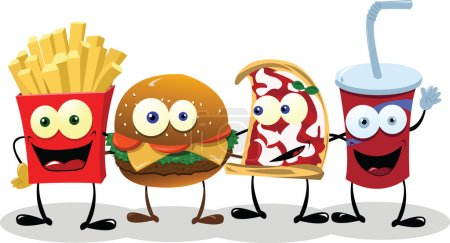 Illustration for A group of friendly Fast Food meals - Royalty Free Image