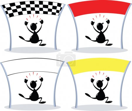 Illustration for A vector cartoon representing a winner crossing different finish lines - Royalty Free Image