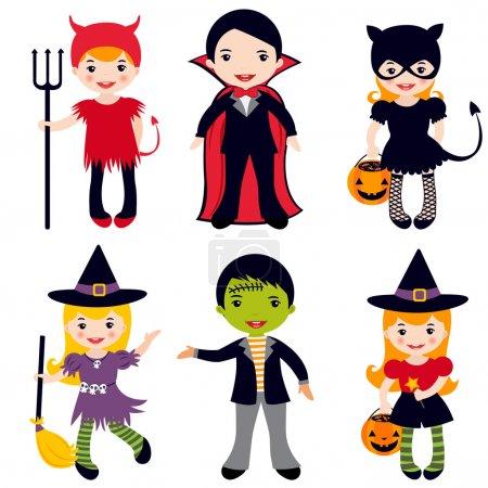 Illustration pour Une illustration d'enfants en costumes d'Halloween - image libre de droit
