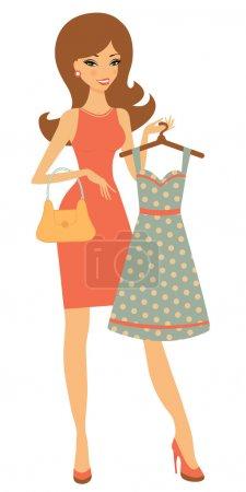 Illustration pour Illustration d'une jolie femme faisant du shopping pour une robe - image libre de droit