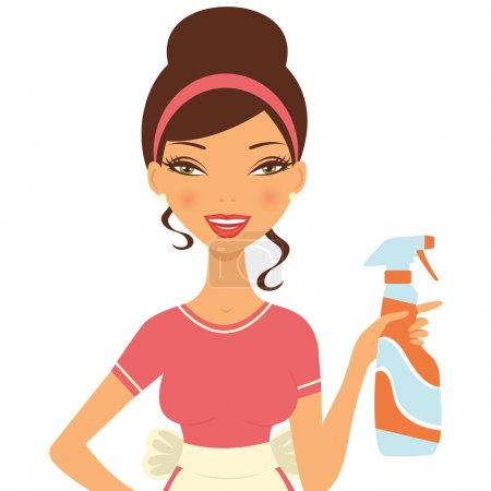 Beautiful woman cleaning with detergent spray