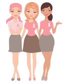 An illustration of three women wearing breast cancer awareness ribbon t-shirts