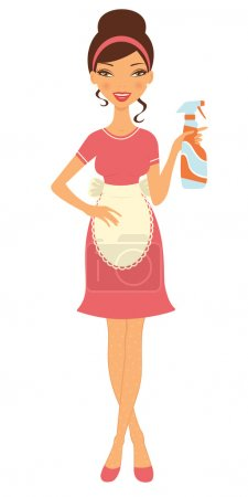 Illustration for An illustration of a beautiful housewife holding cleaning spray - Royalty Free Image