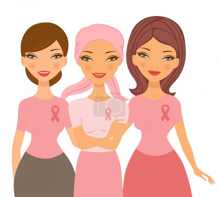 Illustration for An illustration of two friends supporting young woman after chemotherapy - Royalty Free Image