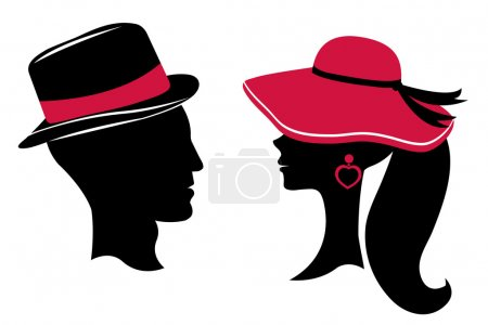 Illustration for Man and woman head silhouettes - Royalty Free Image