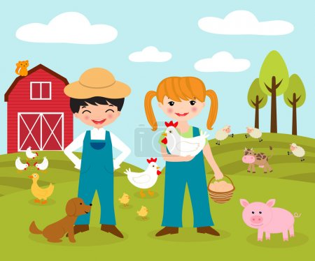 Illustration for Little farmers - Royalty Free Image