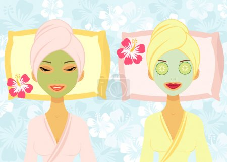 Two women enjoying beauty treatment