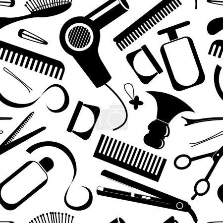 Illustration pour Équipement de coiffure modèle sans couture - image libre de droit