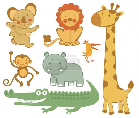Illustration for Cute colorful exotic animals collection - Royalty Free Image
