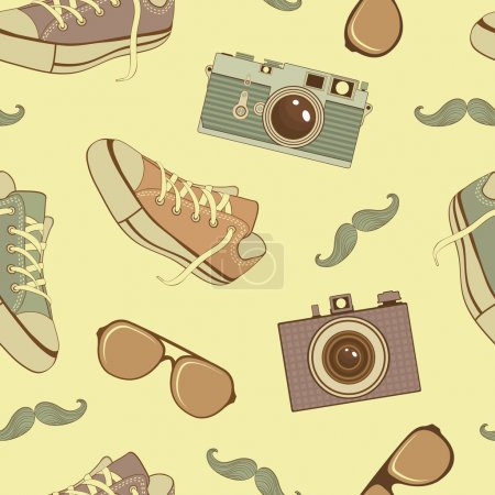 Illustration for A colorful hipster icons seamless pattern - Royalty Free Image