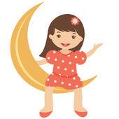 Little girl sitting on the moon