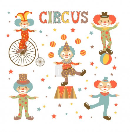 Illustration for Colorful illustration of etro style clowns - Royalty Free Image